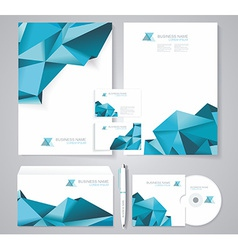 Corporate identity template with blue polygonal vector