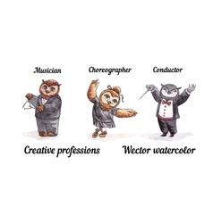 Owls creative professions watercolor birds artists vector