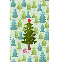 Christmas tree in forest greeting card for vector