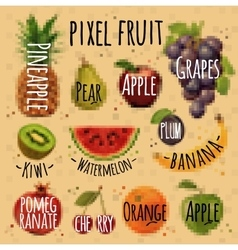 Pixel fruit kraft vector