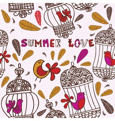 Birds and cages summer love vector