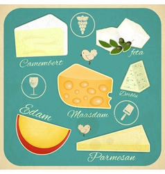Vintage set of cheese vector