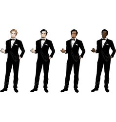 Man in black tuxedo and bow tie vector
