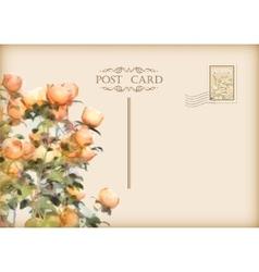 Vintage floral postcard vector