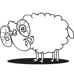 Cartoon of happy ram for coloring book vector