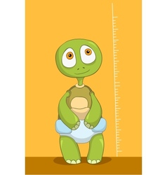 Funny turtle baby measure vector