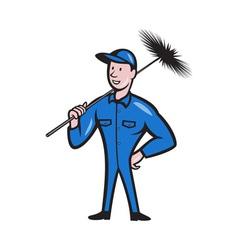Chimney sweeper cleaner worker retro vector
