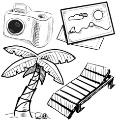Vacation objects collection vector