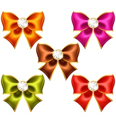 Holiday bows with diamonds vector