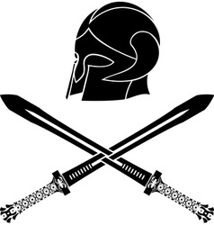 Fantasy barbarian helmet with swords vector
