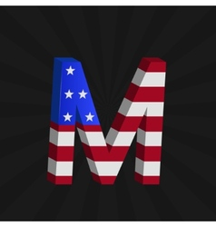 Usa flag alphabet vector
