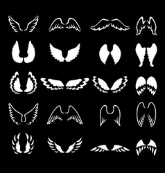 Wings set white vector