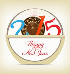Happy new year 2015 with clock gold vector