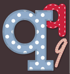 Set of stitched font - letter q vector