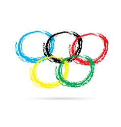 Hand drawn olympic rings vector