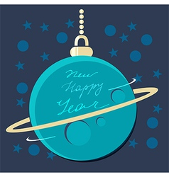 Christmas planet bauble with new year greeting vector