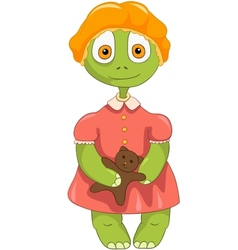 Funny turtle baby girl vector