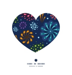 Holiday fireworks heart silhouette pattern frame vector