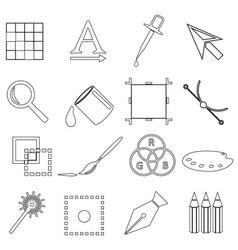 Computer graphics black outline icon set eps10 vector