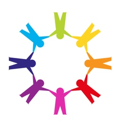 Paper cut people circle vector