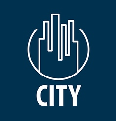 Logo outline night city vector