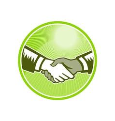 Handshake black white woodcut circle vector