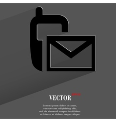 Sms flat modern web button with long shadow and vector