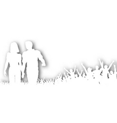 Cheering couple cutout vector