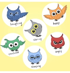 Cartoon owls in different moods vector