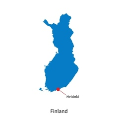 Detailed map of finland and capital city helsinki vector