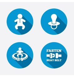 Baby infants icons fasten seat belt symbols vector