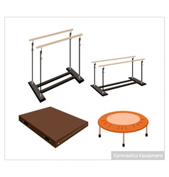 Set of gymnastics equipment on white background vector