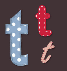 Set of stitched font - letter t vector