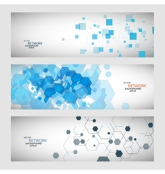 Three banner with abstract colored shapes vector
