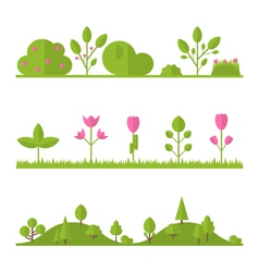 Collection set flat icons tree garden bush vector
