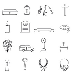 Funeral simple black outline icons set eps10 vector