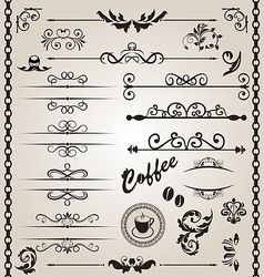 Set floral ornate design elements 7 vector