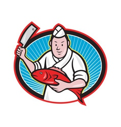 Japanese fishmonger butcher chef cook vector