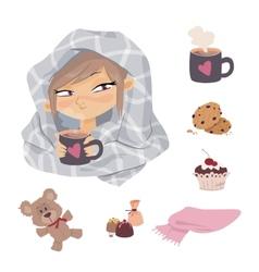 Kid illness icons vector