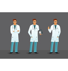 Doctor in various poses vector