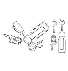 Set of realistic keys icons contour vector