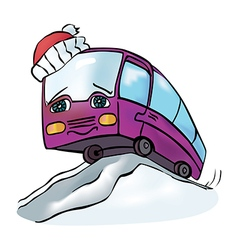 Bus winter vector