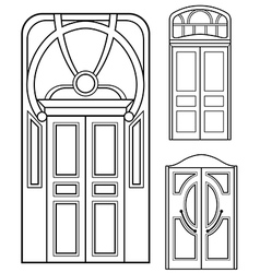 Retro doors set vector
