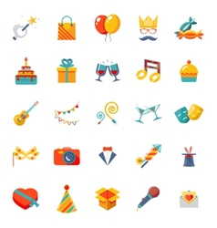 Flat modern trendy isolated icons set gift party vector