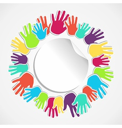 Colorful human hand circle vector