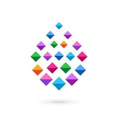 Water drop mosaic crystal logo icon vector