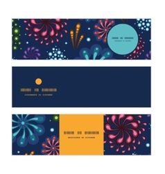 Holiday fireworks horizontal banners set pattern vector