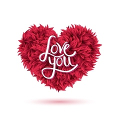 Love you message on red flowers forming heart vector