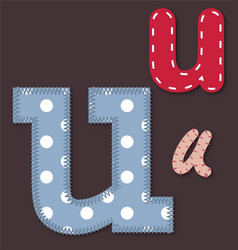 Set of stitched font - letter u vector