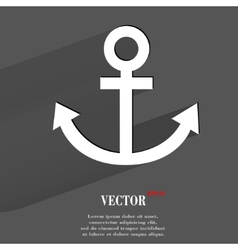 Anchor flat modern web button with long shadow and vector